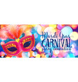 red carnival mask with feathers on shining bokeh vector image vector image
