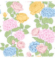 seamless pattern of rose and hydrangea flowers for vector image