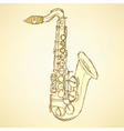 Sketch saxophone musical instrument vector image vector image