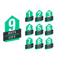 stylish number days left sale and promotion vector image vector image