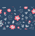 summer floral seamless pattern on dark blue vector image