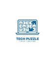 tech puzzle logo vector image vector image