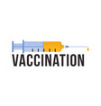 vaccination with medical syringe concept icon vector image