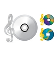 compact disc with treble clef vector image