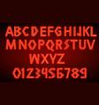 80 s red neon retro font futuristic script vector image vector image