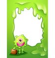 A green border design with a monster holding a bag vector image vector image