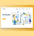 art studio website landing page design vector image