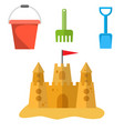 beach toys and sand castle vector image