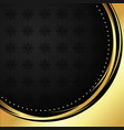 black circle with pattern on gold abstract vector image