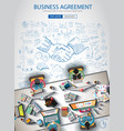 Business agreement brochure template with hand