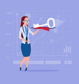 business woman holding key safe security success vector image vector image