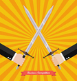 Businessman fighting with swords vector image
