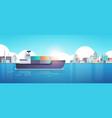 cargo container ship in sea or ocean over factory vector image vector image