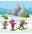 cartoon cheerful childrens moving on ski in suit vector image