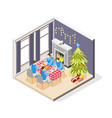 christmas isometric composition vector image