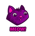 cute cat face and text meow vector image vector image