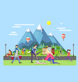 different people walking in park vector image