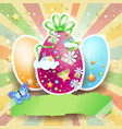 easter background with easter eggs and butterfly vector image vector image