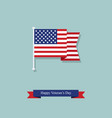 flag and ribbon on the day of americas veterans vector image