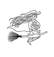 halloween good girl witch on broom with white cat vector image