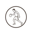 hand drawn doodle style basketball player icon vector image vector image
