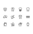 icon set health teeth and dental treatment vector image vector image