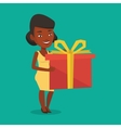 Joyful african woman holding box with gift vector image