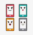 kawaii smartphone emoticons image vector image vector image