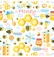 lovely seamless pattern with bees and honey vector image vector image