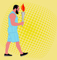 man athlete with the burning sport torch vector image