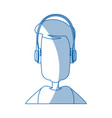man character wearing headphones device technology vector image