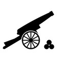medieval cannon firing cores icon black color vector image