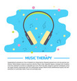 music concept banner with headphones and musical vector image vector image