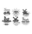 organic market retro labels set farm food hand vector image vector image
