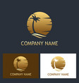 palm tree sunset logo vector image vector image