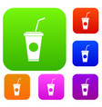 paper cup with straw set collection vector image vector image