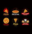 pizza pizzeria label or logo elements for menu vector image vector image