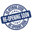 re-opening soon blue grunge round vintage rubber vector image vector image