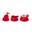 red bag santa claus set large sack holiday for vector image vector image