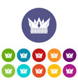 regal crown icons set flat vector image vector image