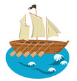 sailing ship with oars isolated vector image
