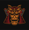 samurai head design vector image