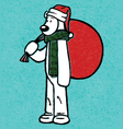 santa hat polar bear with gift bag cartoon christm vector image