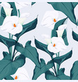 seamless blue calla lilies flower and leaves vector image vector image