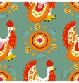 Seamless pattern with cock in Russian Dymkovo vector image vector image