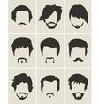 set hairmustachebeard silhouettes vector image vector image