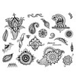 set hand drawn different mehndi elements vector image