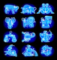Set of blue linear zodiacal signs vector image vector image
