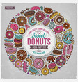 set of donuts cartoon doodle objects symbols and vector image vector image