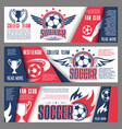 soccer or football college team banners vector image vector image